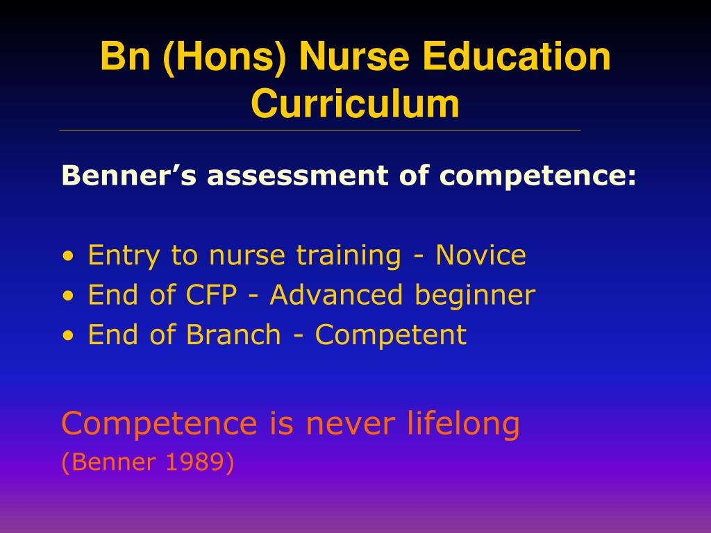 Benner's assessment of competence: