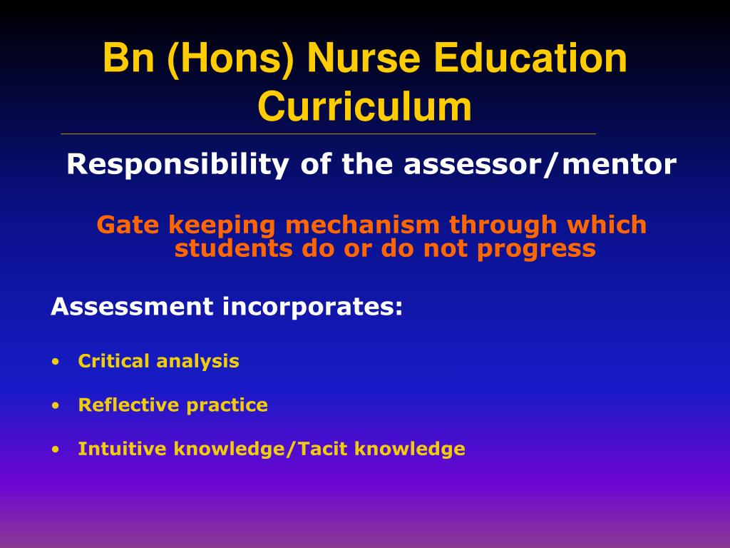 Responsibility of the assessor/mentor