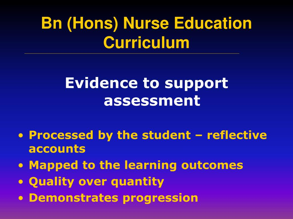 Evidence to support assessment