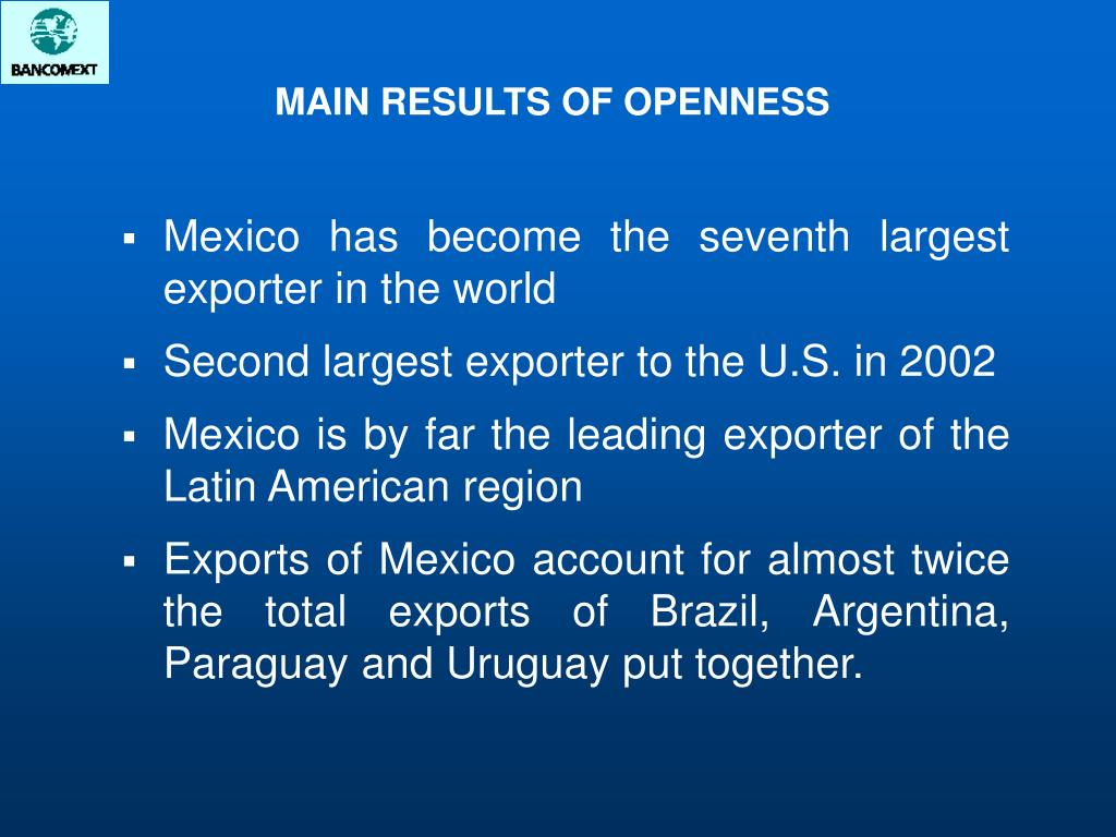 Mexico has become the seventh largest exporter in the world
