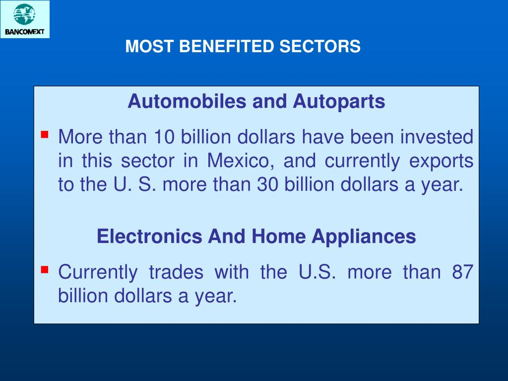 MOST BENEFITED SECTORS