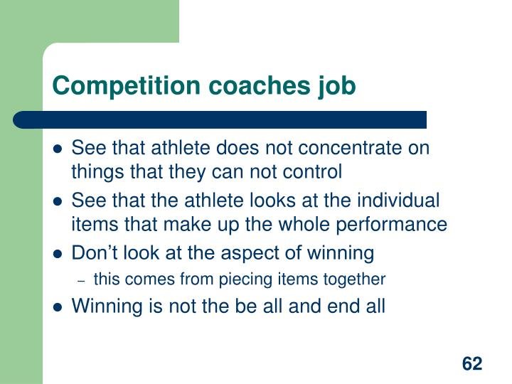 Competition coaches job