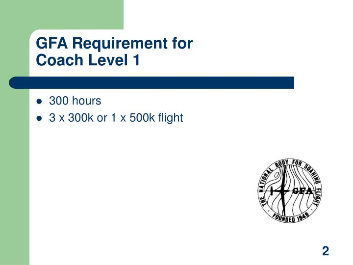 Gfa requirement for coach level 1