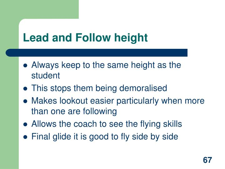 Lead and Follow height