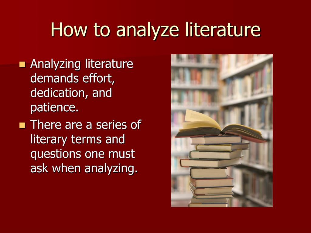 How to analyze literature