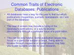 common traits of electronic databases publications