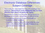 electronic database differences subject coverage19