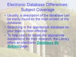 electronic database differences subject coverage20