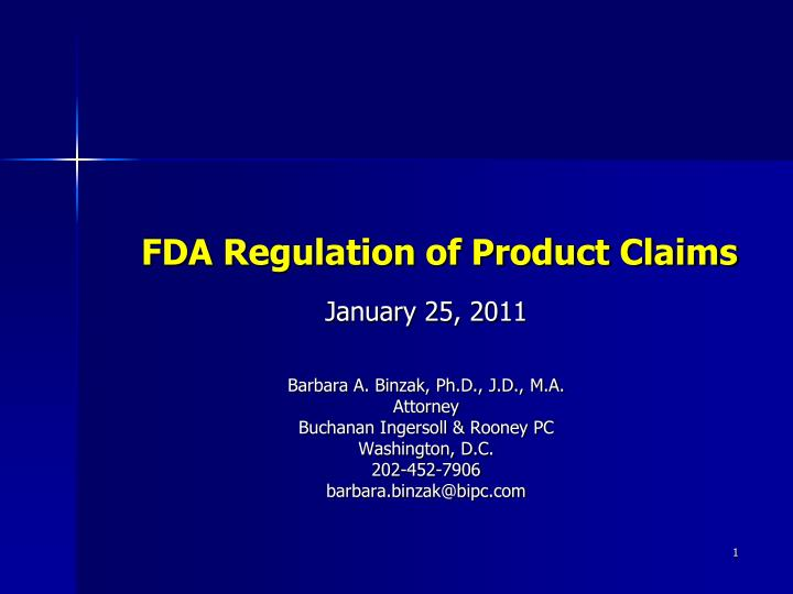fda regulation of product claims n.