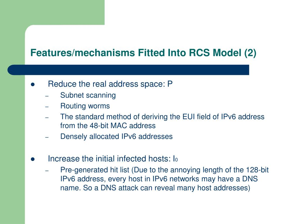 Features/mechanisms Fitted Into RCS Model (2)