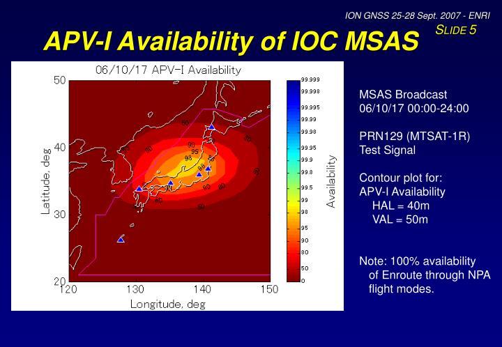 APV-I Availability of IOC MSAS