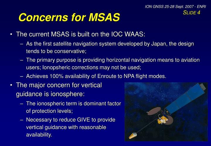 Concerns for MSAS