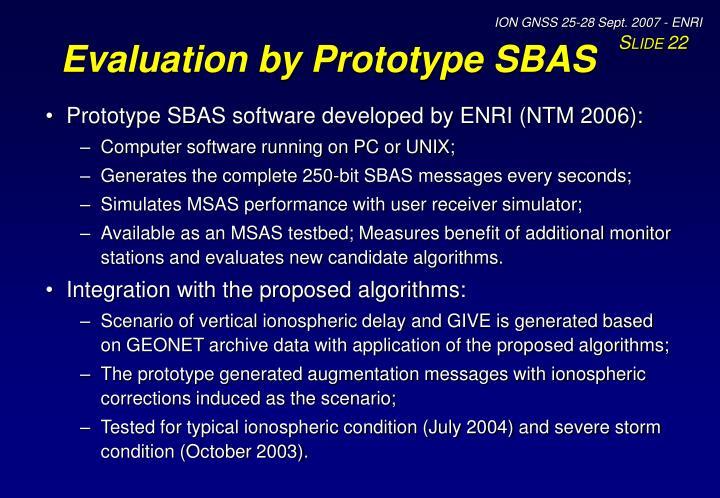 Evaluation by Prototype SBAS