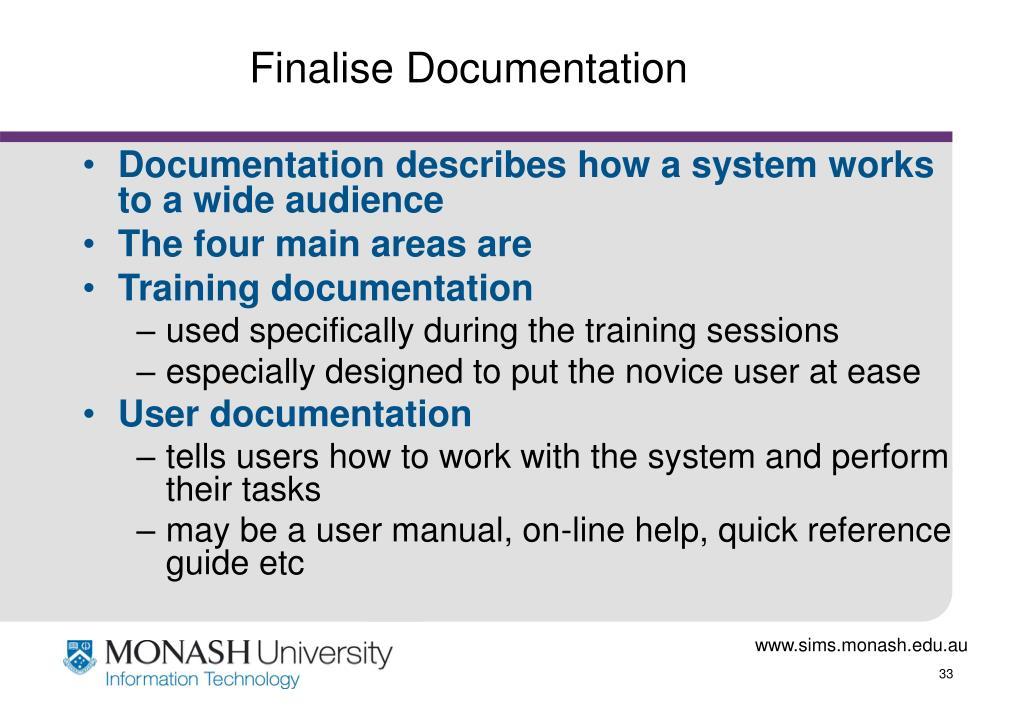 Finalise Documentation
