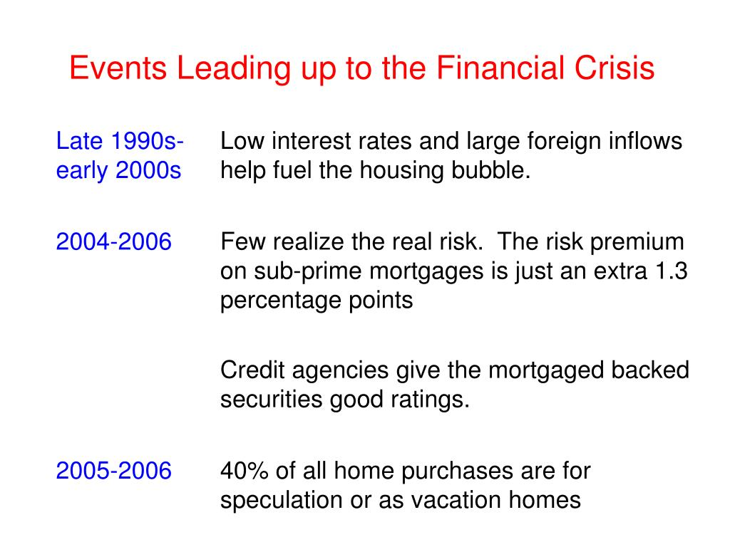 Events Leading up to the Financial Crisis