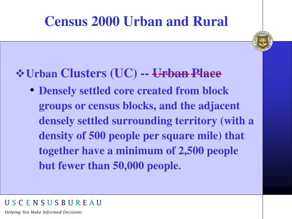Census 2000 Urban and Rural