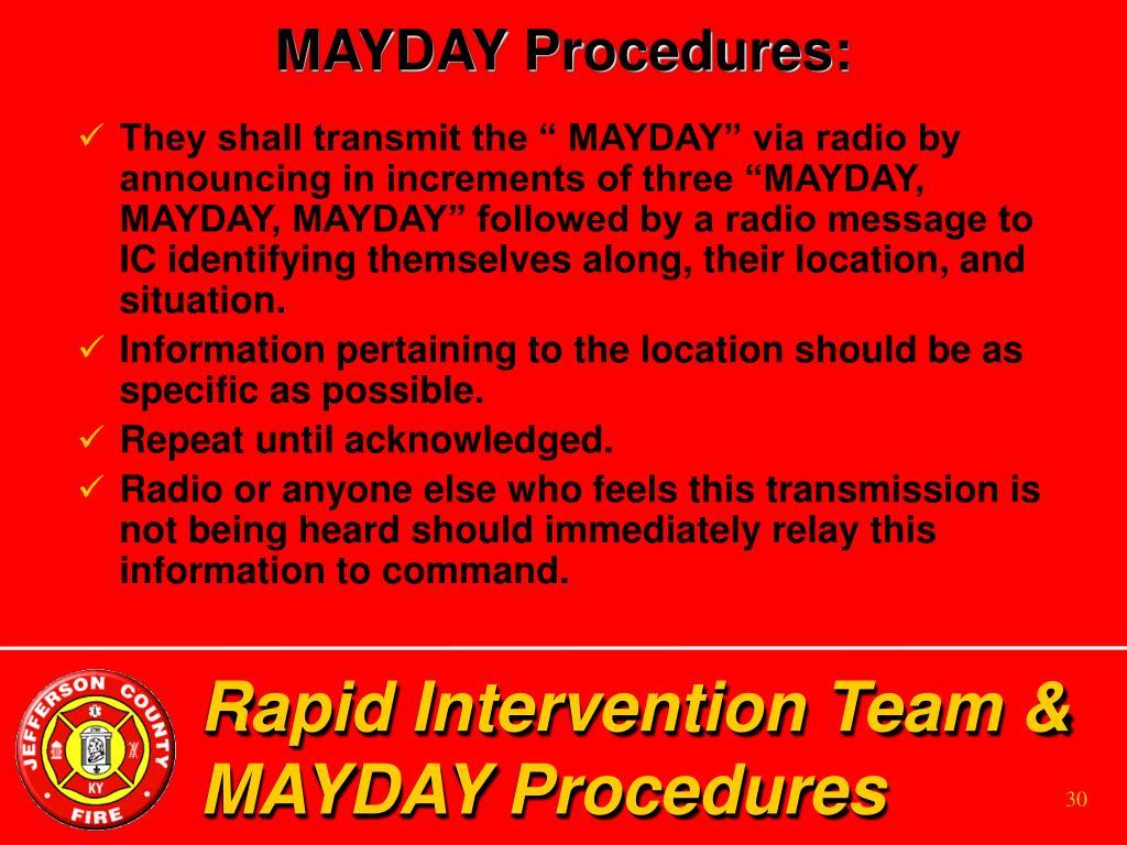MAYDAY Procedures: