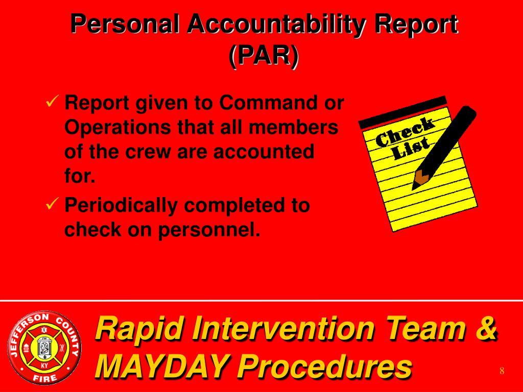 Personal Accountability Report (PAR)