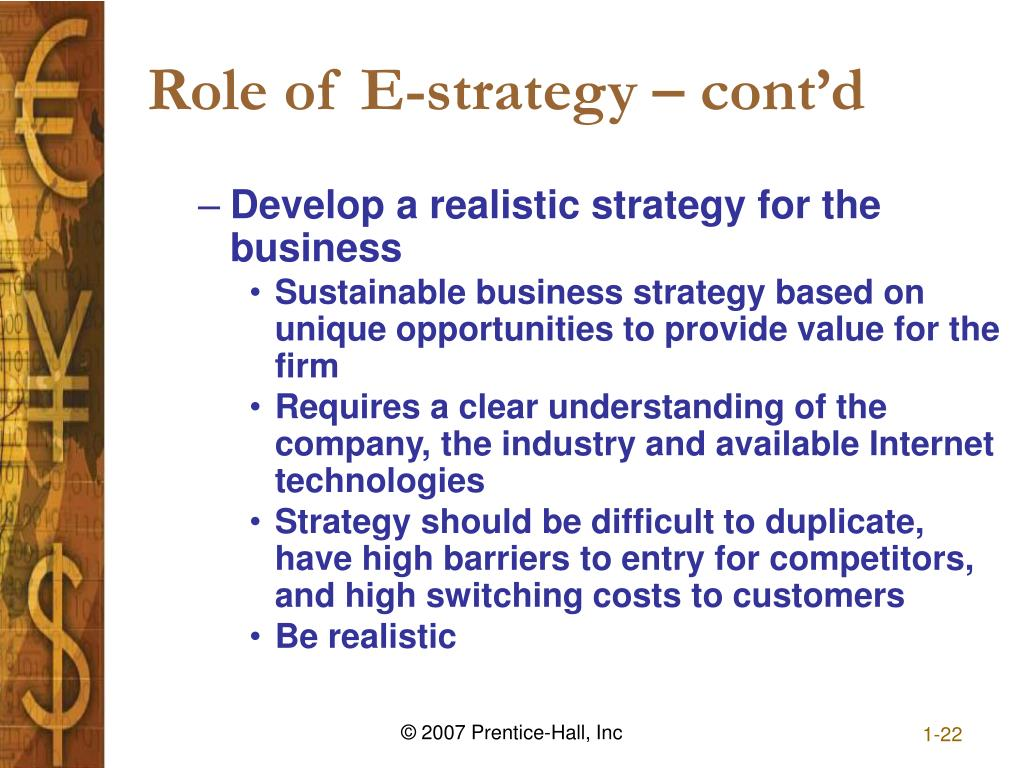 Role of E-strategy – cont'd