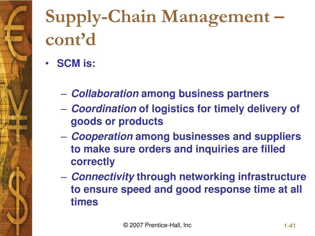 Supply-Chain Management – cont'd