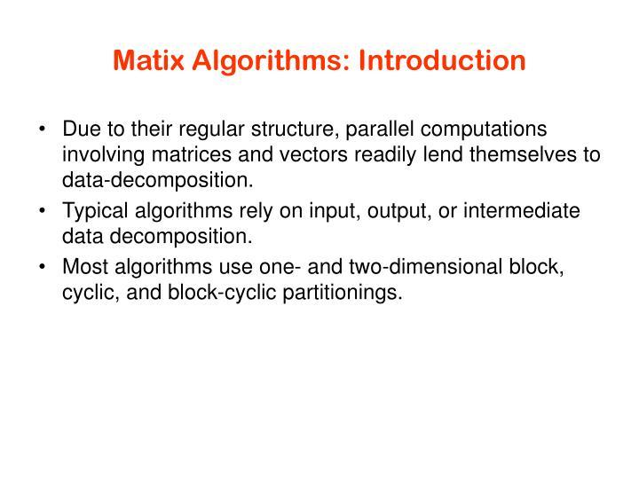 Matix algorithms introduction