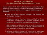 institute of internal auditors key objectives of the risk management process12