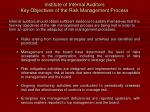 institute of internal auditors key objectives of the risk management process13