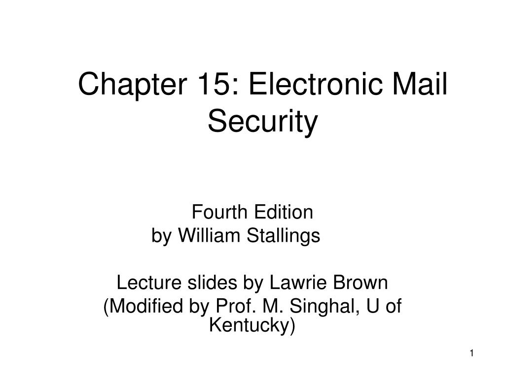 chapter 15 electronic mail security l.