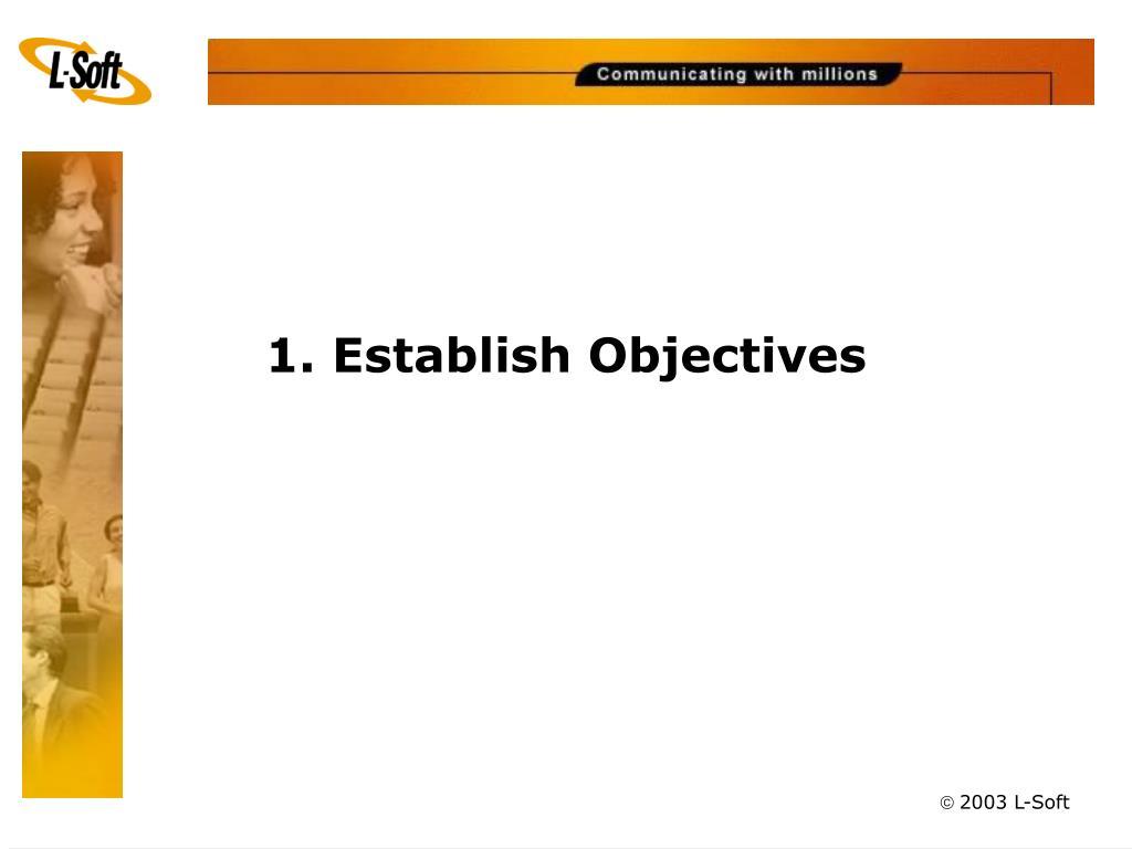 1. Establish Objectives