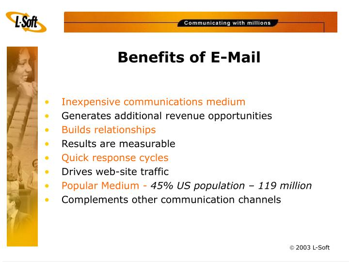 Benefits of e mail