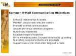 common e mail communication objectives