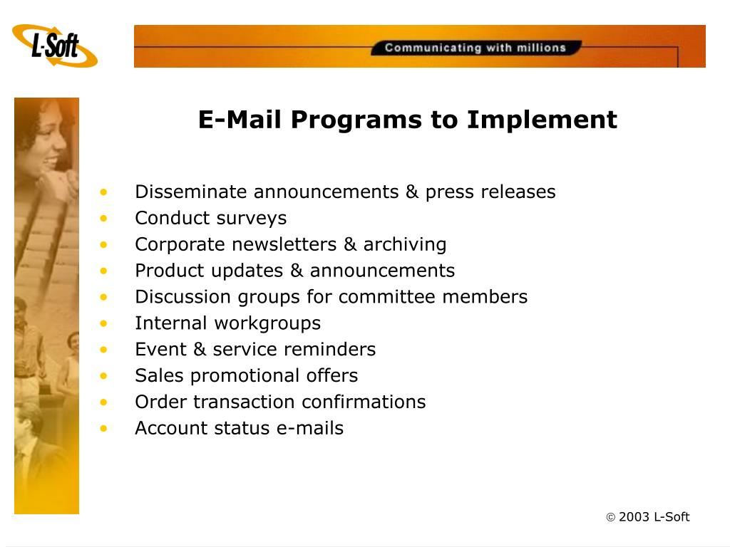E-Mail Programs to Implement