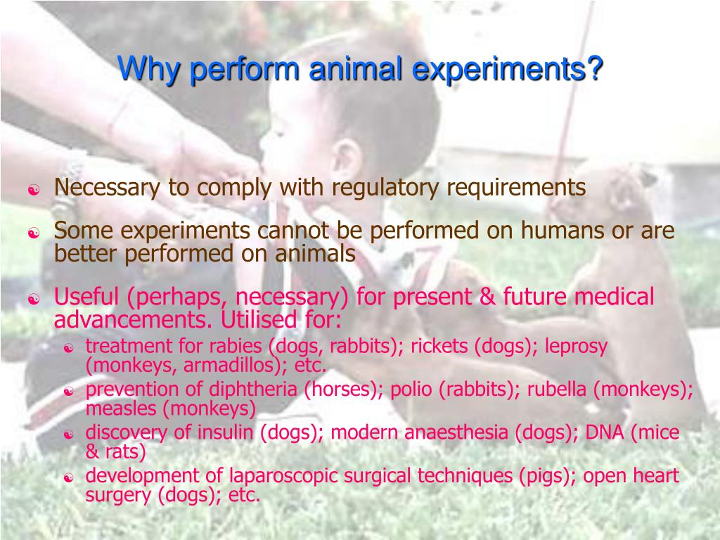 Why perform animal experiments?