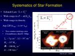 systematics of star formation1