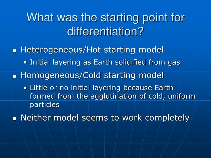 What was the starting point for differentiation