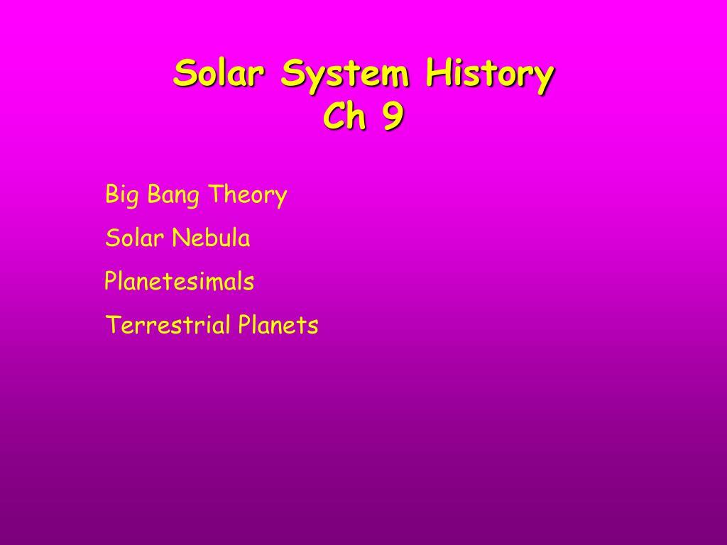 solar system history ch 9 l.