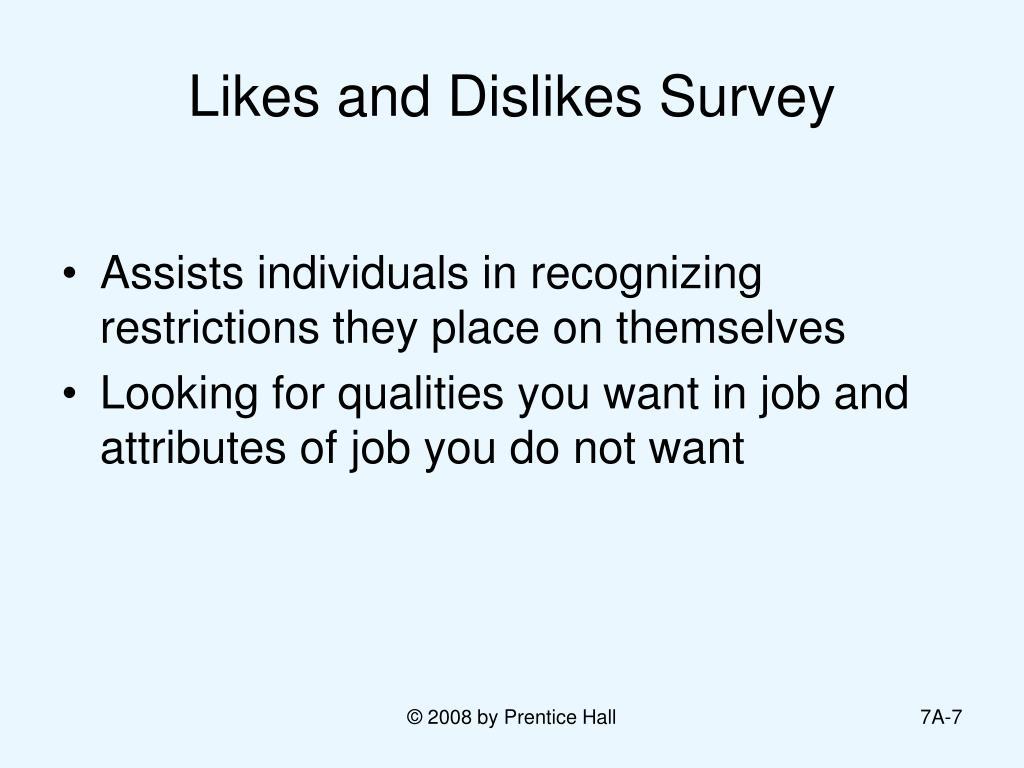 Likes and Dislikes Survey