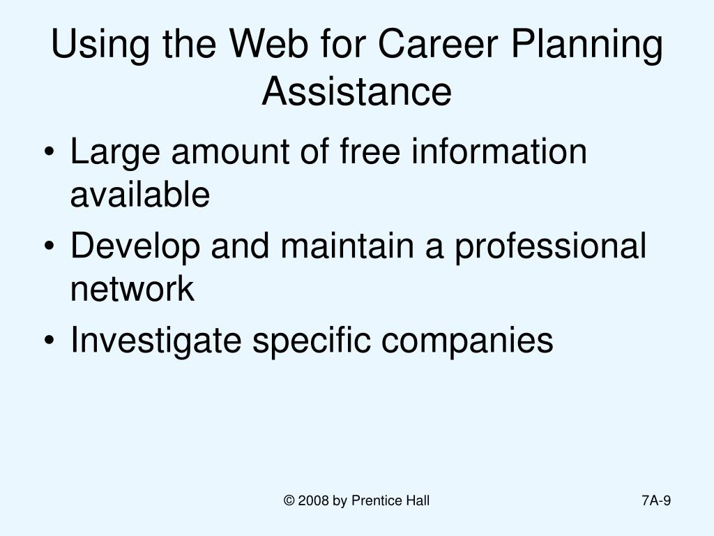 Using the Web for Career Planning Assistance