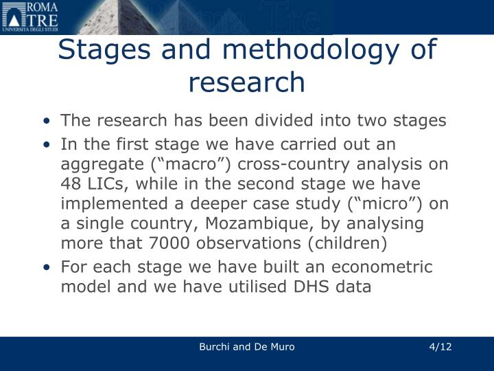 Stages and methodology of