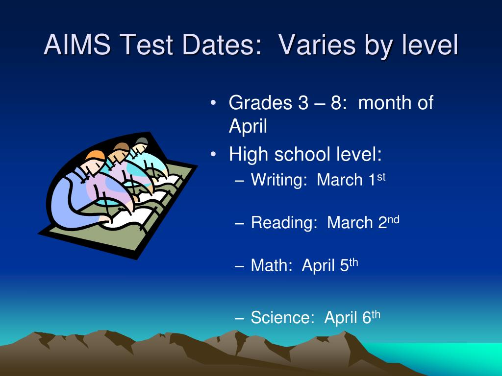 AIMS Test Dates:  Varies by level
