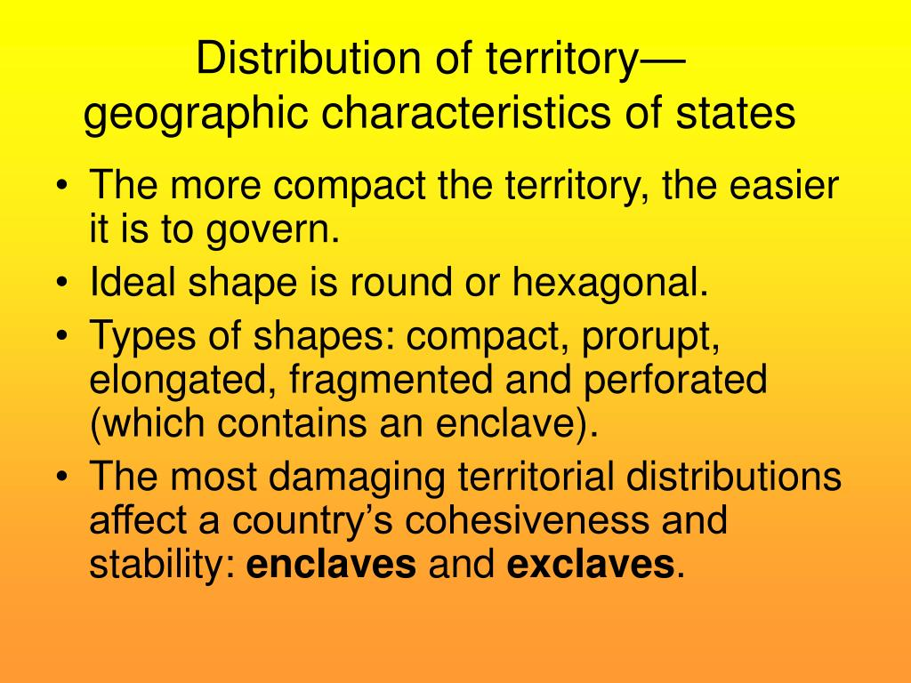 Distribution of territory—