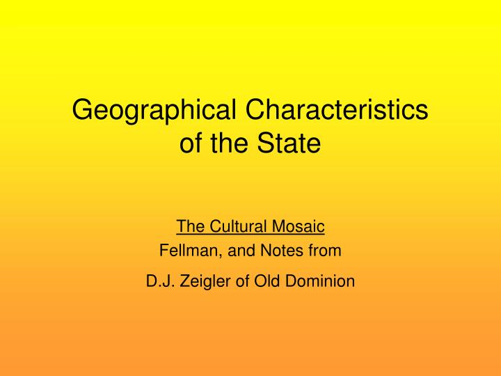Geographical characteristics of the state