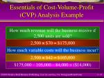essentials of cost volume profit cvp analysis example6
