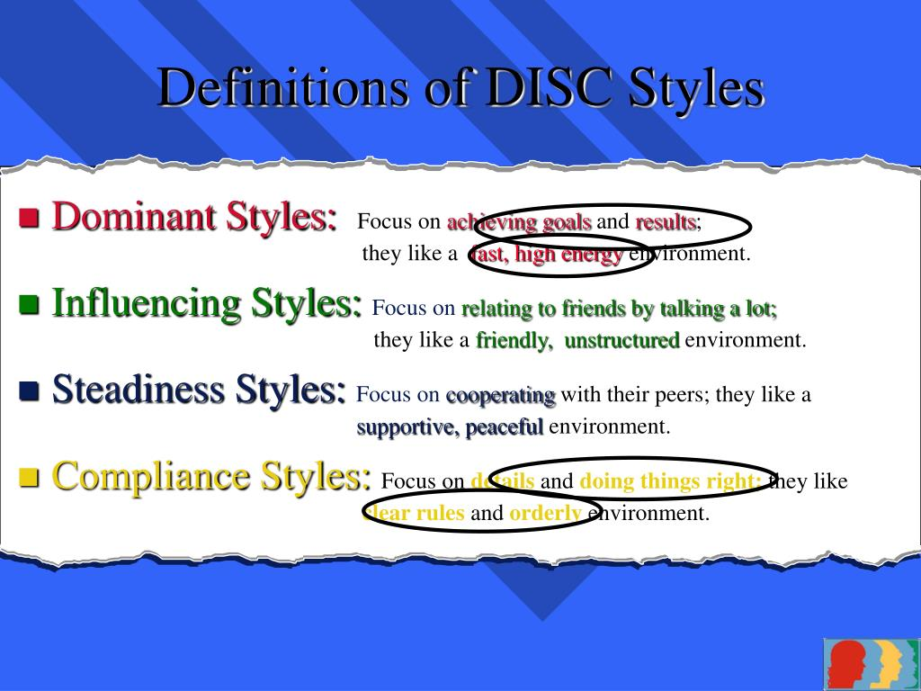 Definitions of DISC Styles
