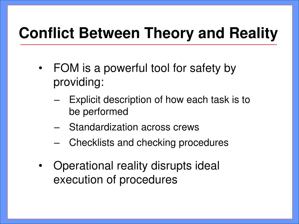 Conflict Between Theory and Reality