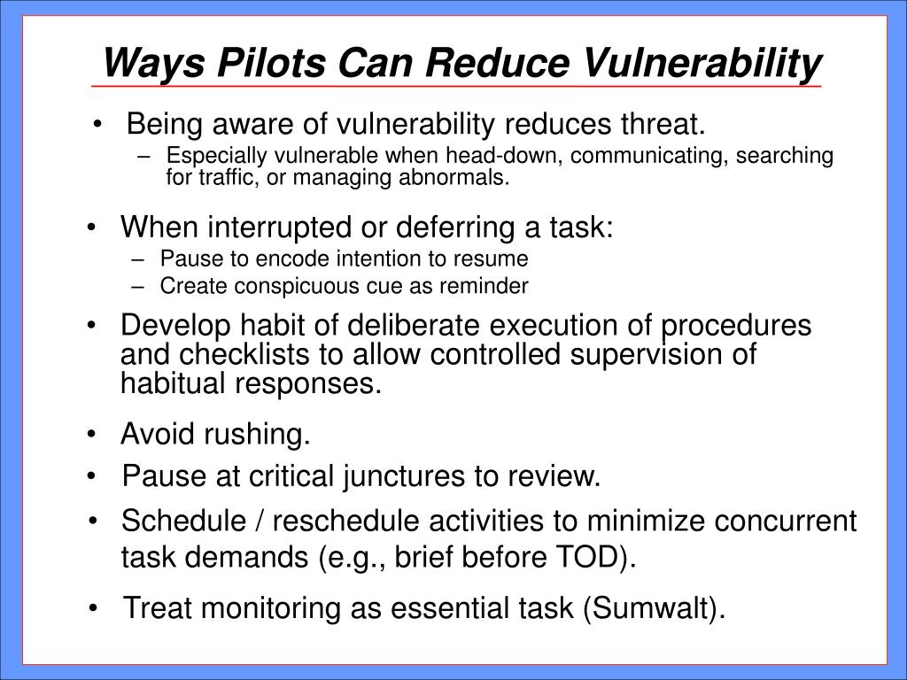 Ways Pilots Can Reduce Vulnerability