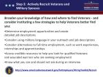 step 3 actively recruit veterans and military spouses