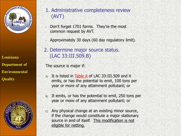 1.Administrative completeness review (AVT)