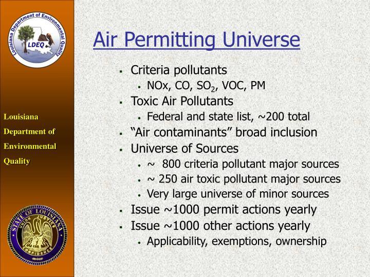 Air Permitting Universe