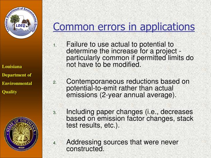 Common errors in applications